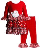 Youngland Toddler Girl Santa Applique Tiered Skirt Top & Leggings Set