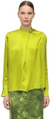 Marques Almeida Satin Shirt W/ Buckle Collar