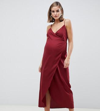 Asos DESIGN Maternity cami wrap maxi dress-Red