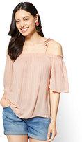 New York & Co. Soho Soft Shirt - Lurex Off-The-Shoulder Blouse
