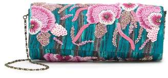 G Lish G-Lish Beaded & Embroidered Foldover Clutch