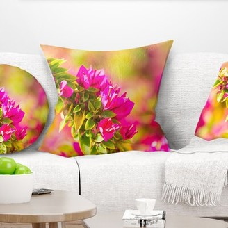 "Bougainvillea East Urban Home Floral Beautiful Flowers Pillow East Urban Home Size: 16"" x 16"", Product Type: Throw Pillow"