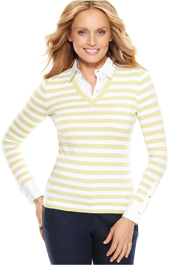 Charter Club Top, Long Sleeve Layered Look Striped V-Neck