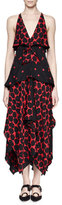 Proenza Schouler Sleeveless Tiered Handkerchief-Hem Mazi Dress, Black/Crimson
