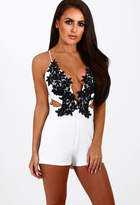Pink Boutique Love Generation White Crochet Plunge Playsuit