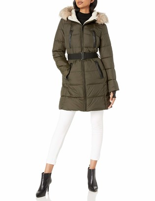 French Connection Women's Belted Zip-Front Puffer with Faux-Fur Hood