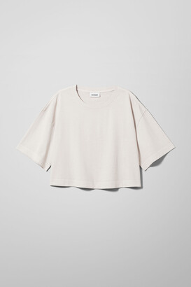 Weekday Ally Cropped T-shirt - White