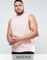 Asos Plus Sleeveless T-shirt With Dropped Armhole In Pink