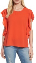 Bobeau Women's Flutter Sleeve Top