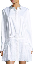 Thakoon Shirtdress w/ Eyelet Skirt, White