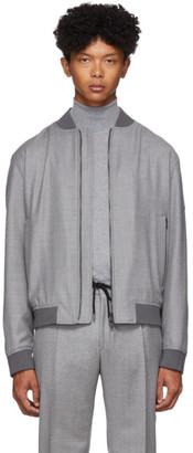 BOSS Grey Wool Bomber Jacket