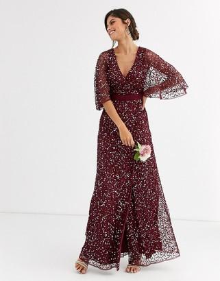 Maya Bridesmaid delicate sequin wrap maxi dress in wine-Red