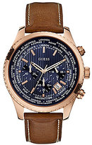 GUESS Men's International Date Chronograph Brown Leather Strap Watch