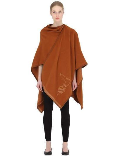 Trussardi Poncho Style Lambswool Throw