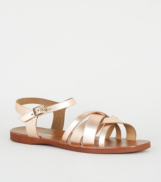 New Look Wide Fit Leather Strappy Sandals