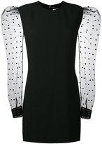 Saint Laurent Mini Dress with heart print mesh sleeves - women - Silk/Polyamide/Polyester/Viscose - 38