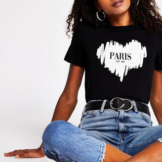 River Island Womens Black 'Paris' heart print t-shirt