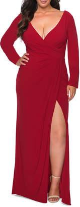 La Femme Plus Size V-Neck Long-Sleeve Jersey Column Gown