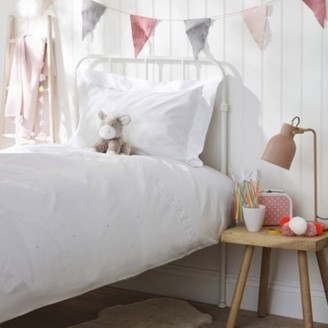 The White Company Embroidered Heart Bed Linen Set, White/Pink, Cot Bed