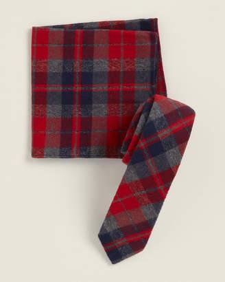 Original Penguin Two-Piece Freeman Check Red Pattern Tie & Pocket Square Set