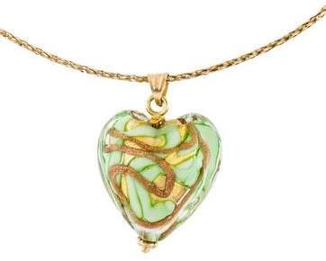 Glass Heart 14K Pendant Necklace