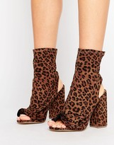 Missguided Peep Toe Heeled Ruffle Boot