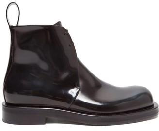 Bottega Veneta Lace-up Leather Ankle Boots - Black