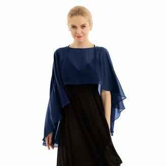 Alvivi Women's Soft Chiffon High Low Shrug Wedding Shawl Wraps Bolero Cardigan Beach Cover Up Navy Blue One Size