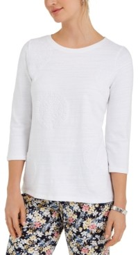 Charter Club Petite Cotton 3/4-Sleeve Top, Created for Macy's