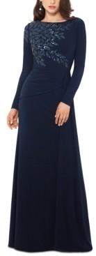 Xscape Evenings Long-Sleeve Sequin-Shoulder Gown