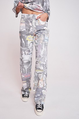 Jaded London Womens **Mash Up Print Jeans By Multi