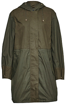 French Connection Mili Canvas Summer Parka, Dark Olive Night/Olive Night