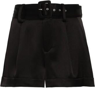 Alice + Olivia Belted Satin-crepe Shorts