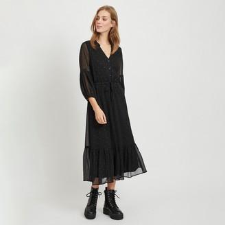 Vila Polka Dot Maxi Dress with Tunisian Collar and Long Sleeves