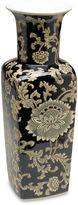 AA Importing 17 Black & Cream Floral Square Vase