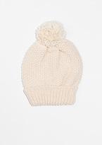 Missy Empire Heather Cream Knitted Pom Beanie