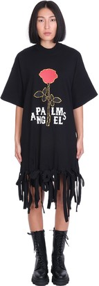 Palm Angels Rose Knots Dress In Black Cotton