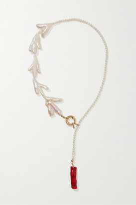 Eliou Bari Gold-plated, Pearl And Bamboo Necklace