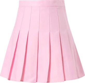 Aotifu Womens Teen Girls Casual Mini Tennis Skirts Stretch Waist Flared Plain Pleated Skater Skirt High Waisted Skirt Black