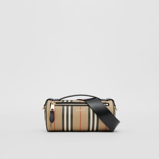 Burberry The Icon Stripe E-canvas and Leather Barrel Bag