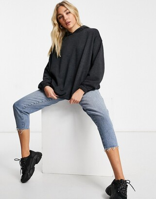 ASOS DESIGN super oversized cocoon hoodie with side pockets in charcoal marl