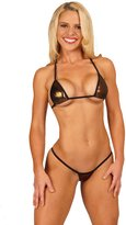 Bitsy's Bikinis Solid Brown Foil Sexy Micro G-String Bikini 2pc Small Top Mini Thong with Black