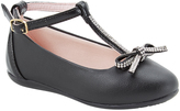 Pampili Black Bow-Accent T-Strap Ballet Flat