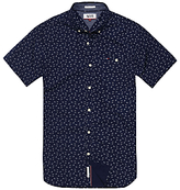 Hilfiger Denim Ditsy Print Cotton Poplin Short Sleeve Shirt, Black Iris