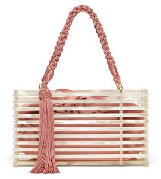 Montunas Guaria Tasseled Acetate Box Bag - Womens - White Multi