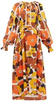 Dodo Bar Or Off-the-shoulder Floral-print Voile Maxi Dress - Womens - Brown Print