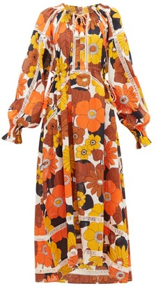 Dodo Bar Or Off-the-shoulder Floral-print Voile Maxi Dress - Brown Print