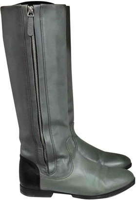 Chanel Green Leather Boots