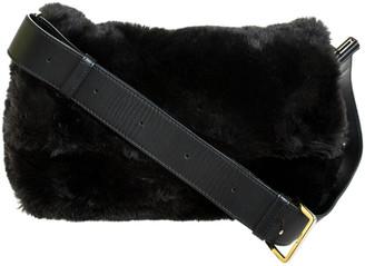 Furla Black Faux Fur Caos Shoulder Bag