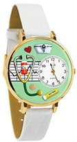 Whimsical Watches Women's G0620041 Unisex Gold Nurse Green White Skin Leather And Goldtone Watch